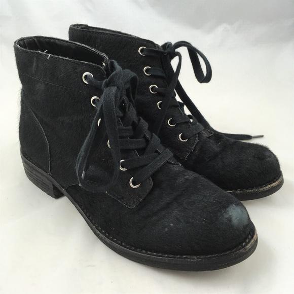 31d831f0b8e039 Ankle combat boots black calf hair fur Bleecker 8.  M 5aede9d53800c56aafaa30e4